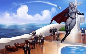 Картинка море, корабль, ракета, Soviet-Superwoman