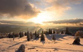 Картинка зима, солнце, свет, снег, река, утро, долина