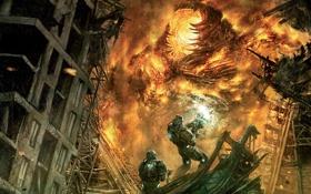 Картинка монстр, сражение, воины, Hellgate London