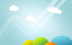 Обои небо, трава, облака, минимализм, облако, арт, обои для рабочего стола 1920x1200