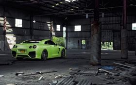 Обои Nissan, GT-R, Green, Tuning, Wheels, Garage, Window