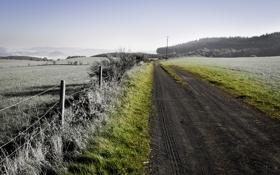 Обои дорога, трава, пейзаж, забор, Природа, изгородь