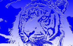 Обои кошка, абстракция, тигр