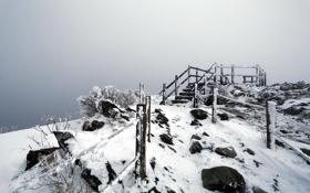 Картинка зима, снег, гора, ступени