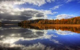 Картинка осень, небо, озеро, зеркало