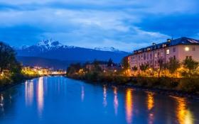 Обои снег, горы, река, дома, вечер, Австрия, mountains
