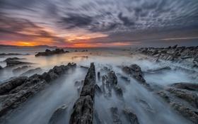 Обои море, пляж, скалы, выдержка, Испания, страна Басков, Meñakoz