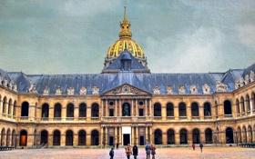 Обои небо, люди, Франция, Париж, двор, купол, Дом Инвалидов