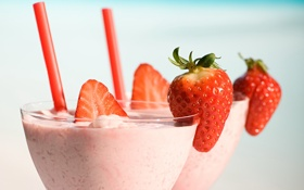 Обои клубника, fresh berries, milkshake, cocktail, коктейль, dessert, десерт