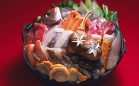 Картинка зелень, грибы, рыба, Япония, Japan, раковины, mushroom