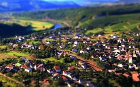 Обои пейзаж, долина, река, холмы, tilt-shift, вид, город