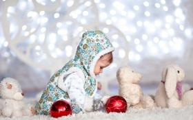 Обои свет, огни, праздник, игрушка, ребенок, малыш, зайцы