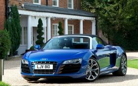 Обои машина, ауди, audi, синяя, спайдер, spyder, uk-spec