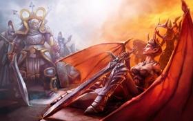 Обои девушка, крылья, меч, корона, демон, воин, рога