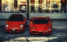 Обои car, red, ferrari, porsche, cars, enzo, monaco