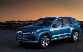 Обои Concept, Вечер, Синий, Volkswagen, Концепт, Джип, Графика