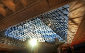 Обои люди, тени, солнце, Louvre, лестница, лучи, Paris