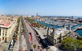 Картинка дорога, пальмы, дома, лодки, Испания, набережная, улицы