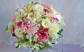 Картинка цветы, фото, букет, пионы, гортензия, лютик