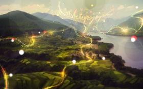 Обои пейзаж, горы, природа, река, фото, обои, вид