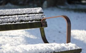 Картинка холод, зима, снег, скамейка, парк, лавочка
