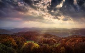 Обои осень, небо, свет, сказка, долина