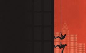 Картинка город, люди, стена, тросс