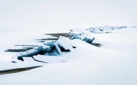 Обои лёд, снег, река
