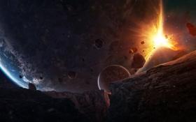 Обои космос, взрыв, фантастика, планета, разрушение