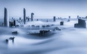 Картинка город, туман, утро, Дубай, небоскрёбы, ОАЭ, Dubai Marina