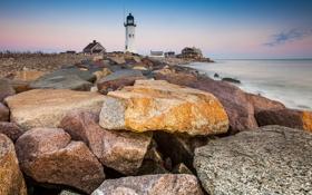 Картинка природа, камни, маяк, океан