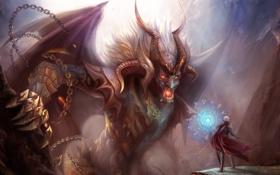 Картинка magic, horns, women, face, creature, chains, angeles y demonios