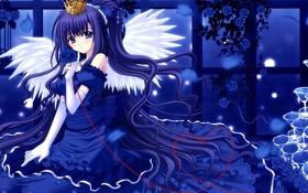 Обои взгляд, девушка, крылья, аниме, корона, платье