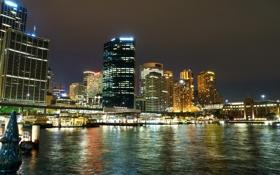 Обои ночь, огни, берег, дома, небоскребы, Австралия, фонари