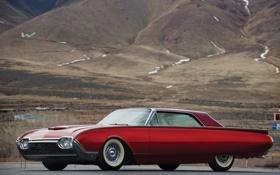 Обои Ford, ЦВЕТ, КРАСНЫЙ, РАРИТЕТ, Custom, Thunderbird, 1961