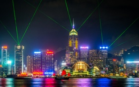 Обои Гонконг, неон, лодки, горизонт, Китай, лазерные лучи, лавровый