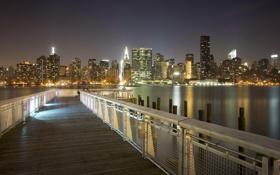 Картинка США, река, здания, ночь, огни, Нижний Манхэттен, город