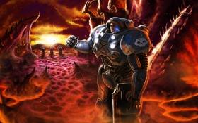 Картинка оружие, планета, Terran, Starcraft, marine, зерги, пехота