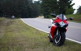 Обои дорога, красный, мотоцикл, red, suzuki, bike, сузуки