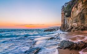 Картинка море, горы, камни, скалы, берег, пиратская башня