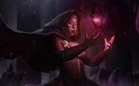 Обои тьма, магия, art, black stone