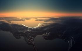 Обои горы, вода, Рельеф