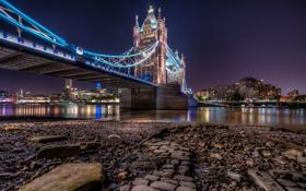 Обои ночь, англия, лондон, london, night, england, Golden Tower Bridge