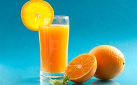 Обои апельсин, сок, стакан, долька