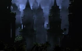 Обои темнота, таинственность, ночь, башни, пальмы, мрак