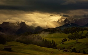 Обои небо, свет, горы, луга