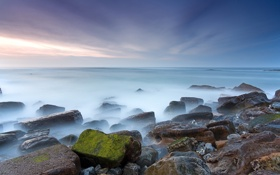Обои камни, небо, море