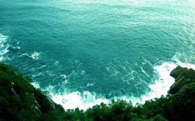 Обои камни, скалы, вид, вода, волны, море, кусты