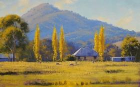 Картинка осень, деревья, пейзаж, холмы, дома, арт, постройки