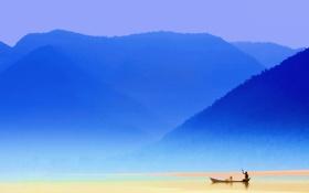Обои небо, горы, озеро, лодка